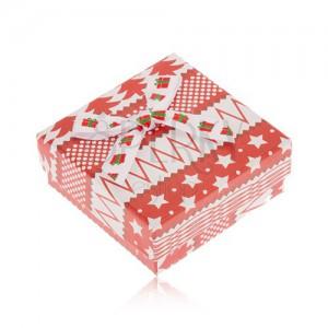 Piros-fehér doboz fülbevalóra, csillagok, fák, golyók, masni