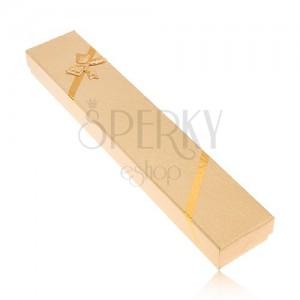 Fényes arany színű dobozka láncnak, szövet kinézet, masni