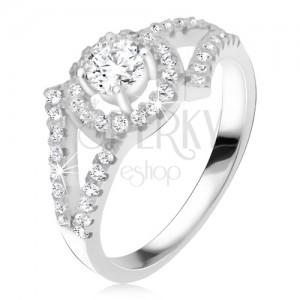 925 ezüst gyűrű, kettévált szárak, kerek kő kerettel