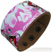 Széles pink bőrkarkötő - koponya és szívecskék