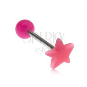 Piercing nyelvbe, fényes, rózsaszín csillag