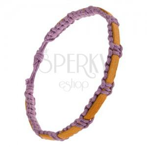 Fonott lila színű karkötő zsinórokból, mustár színű bőrsáv a felszínen