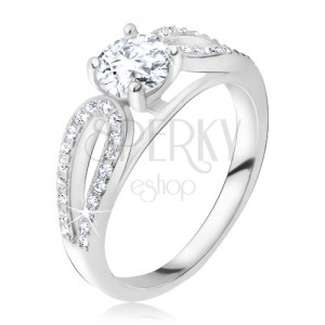 Ezüst gyűrű 925, kerek kő a cirkóniás cseppek között