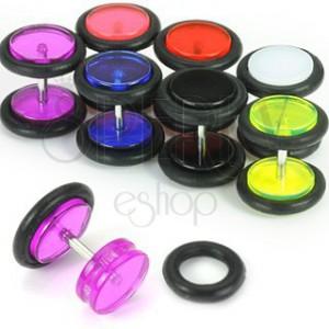 Akryl fake plug fülbe, színes kerekek