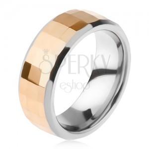 Wolfrám gyűrű - kétszínű, geometriai alakban csiszolt arany színű sáv