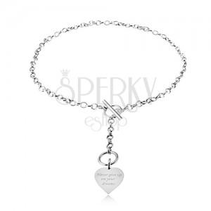 Nyakék 925 ezüstből, lánc és szabályos szív felirattal