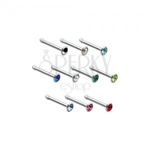 Egyenes orrpiercing 316L acélból, színes cirkónia a fejecskében