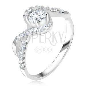 Gyűrű, átlátszó kővel, tekert vonal, cirkóniás szárak, 925 ezüst