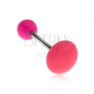 Piercing nyelvbe rózsaszínben, fényes sima karika