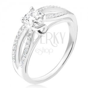 Gyűrű 925 ezüstből, cirkóniás ellipszis, átlátszó kerek kő