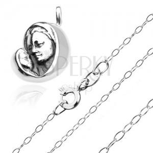 Ezüst nyakék 925 - Madonna a gyermekkel a csillogó láncon