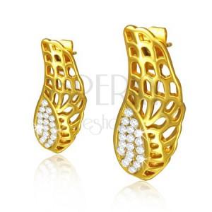 Acél fülbevaló - kivágott arany színű szárnyak, átlátszó kövek