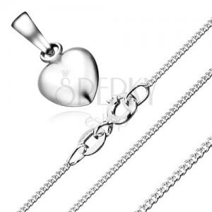 Nyakék - szabályos szív és lánc csavart szemekből, 925 ezüst