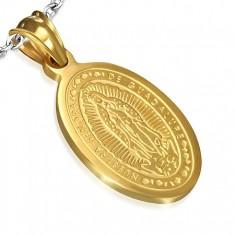 Ovális acél medál arany színben, Madonna mennybemenetele, 15 x 22 mm