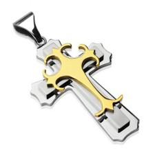 Medál sebészeti acélból - hármas kereszt arany és ezüst színben