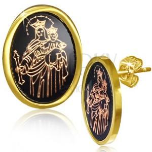 Fülbevaló acélból, Szűz Mária és Jézuska a fekete alapon