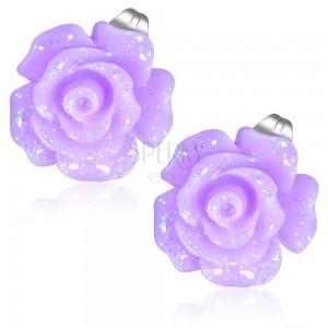 Acél fülbevaló, csillogó lila színű rózsa virág