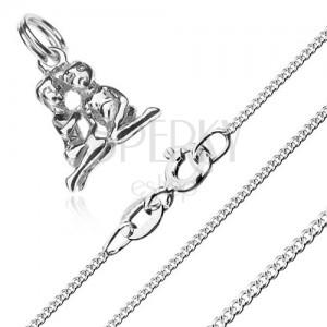 Nyakék - ülő kettős és aprószemű lánc, 925 ezüst