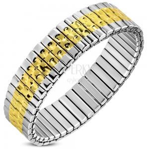 Flexibilis acél karkötő ezüst-arany színben, eleme bemélyedésekkel