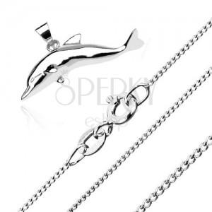 Nyakék 925 ezüstből - nagy ugró delfin, apró csavart szemű lánc