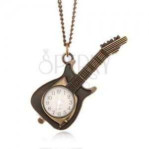Lánc órával - díszesen patinált elektromos gitár, ezüst színű mutatók