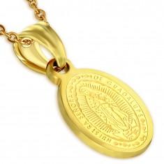 Acél medál, arany színben, Szűz Mária mennybemenetele, 11 x 15 mm