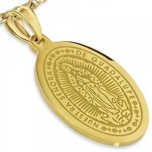 Ovális medál arany színben, acélból, Szűz Mária mennybemenetele, 21 x 32 mm