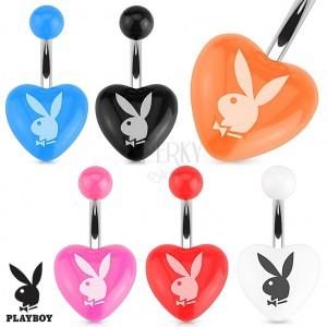 Acél piecing köldökbe, színes, akryl szív, Playboy nyuszi