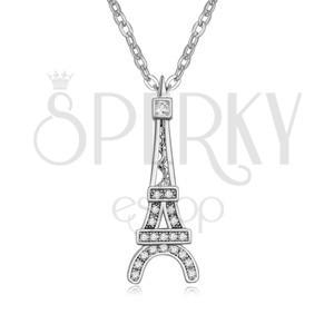 Fényes nyaklánc Eiffel tornyot ábrázoló medállal, átlátszó kövek