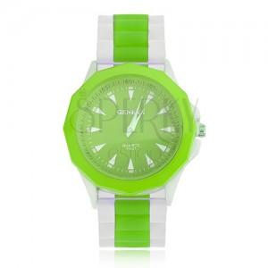 Analóg óra zöld-fehér színben, zöld óramutató, szilikon szíj