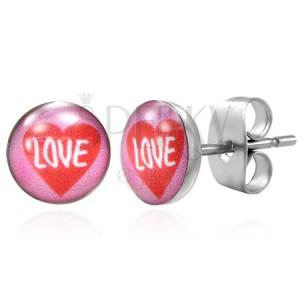 Nemesacél fülbevaló - piros szív és LOVE felirat