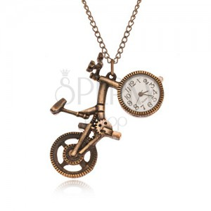 Lánc órával - bicikli matt arany színben, óratest a kerékben