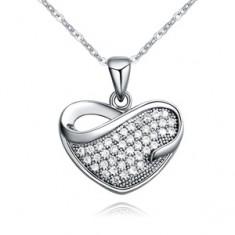 Fényes nyaklánc medállal, cirkóniás szívből könnycsepp alakú kivágással