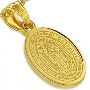 Acél medál arany színben, Szűz Mária mennybemenetele, 13 x 19 mm