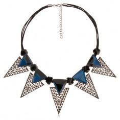 Nyaklánc, hatalmas háromszög alakú dísz, fekete egyenetlen hengerek, kék cirkóniák