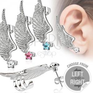Fake piercing fülbe acélból - szárny és színes cirkóniás csillag