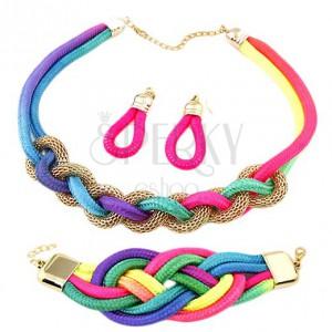 Szett fülbevaló, karkötő és nyakék, fonott színes kötelek, lánc