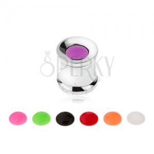 Acél alagút plug fülbe, cserélhető színes karikák 8 mm