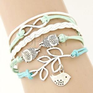 Zöld-fehér zsinóros karkötő, bőrhatású fonat, medálok