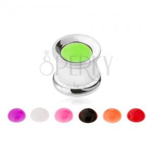 Acél alagút fülbe, cserélhető neon lemezek, 10 mm