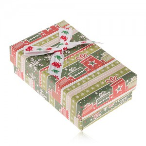 Ajándékdoboz fülbevalóra vagy gyűrűre, zöld-piros karácsonyi motívum, dísz masni