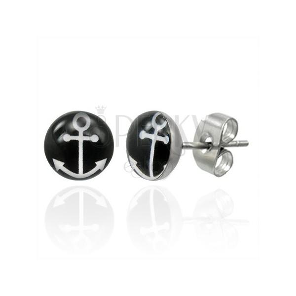 Beszúrós acél fülbevaló fehér horgony szimbólumával fekete körben
