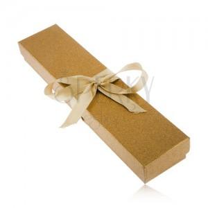 Arany színű csillogó dobozka karkötőnek, fényes szalag