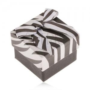 Ajándékdobozka ékszerre, fekete-fehér zebra, fényes masni