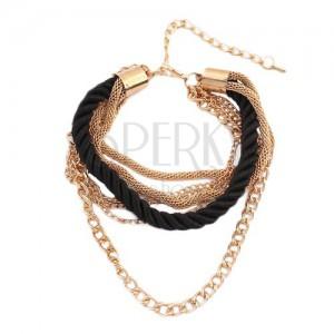 Karkötő - csavart fekete zsinór, arany színű lánc