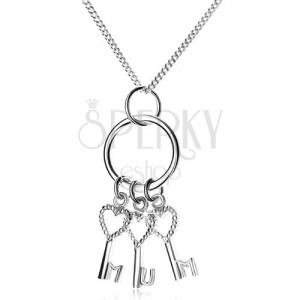 Ezüst 925 nyakék - lánc és három kulcs a karikán, MUM