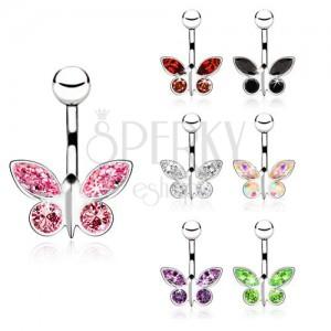 Acél piercing köldökbe, cirkóniás pillangó - különböző színekben