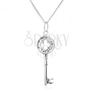 Nyakék - csillogó lánc, kulcs virág kivágással, 925 ezüst