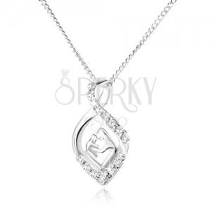 925 ezüst nyakék - lánc és tekert cirkóniás könnycsepp, anya és gyermeke
