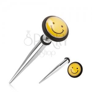 Acél, fake expander fülbe, sárga smile